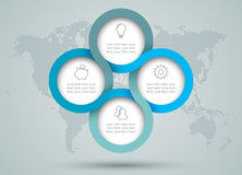 Infographic与小点世界地图哼声的圈子图 库存图片