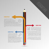 Infographic与铅笔的设计模板 向量 免版税库存照片