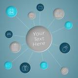 Infographic与链接的文本圈子的公司象 免版税图库摄影