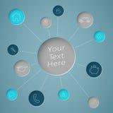 Infographic与链接的文本圈子的类属图标 免版税库存图片