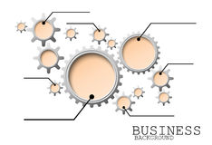 Infographic与齿轮和嵌齿轮的设计模板隔绝了背景 免版税库存图片