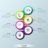 Infographic与6个多彩多姿的继续地被连接的圆元素的设计模板 库存例证