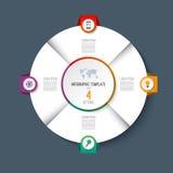 Infographic与4个选择的圆形统计图表圈子 库存照片