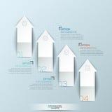 Infographic与4的设计版面编号了向上指向箭头和正文框 库存例证
