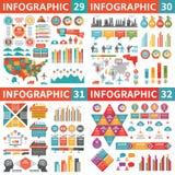 Infographic业务设计元素-传染媒介例证 Infograph模板汇集 世界和美国地图 行业工厂 皇族释放例证