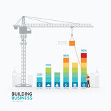 Infographic企业图表模板设计 对成功c的大厦 免版税库存照片
