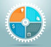 Infographic企业平的嵌齿轮图表 库存图片