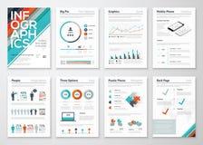 Infographic企业数据形象化的飞行物和小册子元素 库存照片