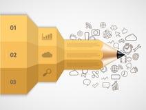 infographic传染媒介现代的铅笔 免版税库存照片