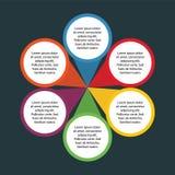 Infographic元素和介绍的6个圈子选择事务的有黑暗的背景 免版税库存图片