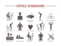 infographic办公室的综合症状 库存照片
