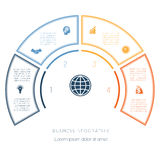 从infographic四个数字选择的半圆模板 免版税库存图片