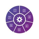 Infographic圈子元素 图,图表,与7步,选择,零件,过程,阶段的图 传染媒介企业模板为 库存例证