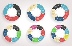 infographic圈子的箭头 在平的设计样式的传染媒介模板 库存照片