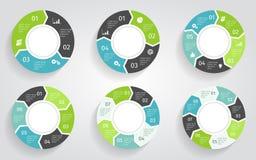 infographic圈子的箭头 在平的设计样式的传染媒介模板 库存图片