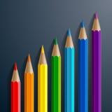 Infographic彩虹有现实的颜色铅笔 免版税库存照片