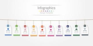 Infographic您的企业数据的设计元素与10个选择、部分、步、时间安排或者过程,标签标记概念 库存例证