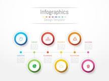 Infographic您的企业数据的设计元素与6个选择 免版税库存照片
