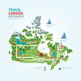 Infographic旅行和地标加拿大地图形状模板设计 库存照片