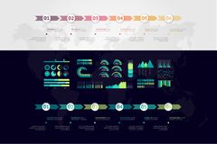 infographic时间安排的传染媒介 例证映射旧世界 库存照片