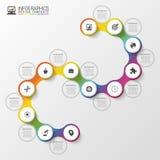 Infographic时间安排螺旋模板 现代企业的概念 也corel凹道例证向量 免版税图库摄影