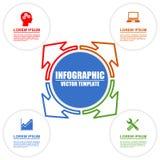 Infographic模板教育技术与4个选择的经营业务 向量例证