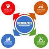 Infographic模板教育技术与4个选择的经营业务 库存例证