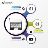 Infographic模板 与3步的企业概念 向量 免版税库存照片