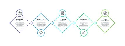 infographic步的线 5步方形的简报图形表示法,企业生产力时间安排元素 传染媒介流程 库存例证