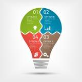 infographic现代的电灯泡, 4个选择 介绍的,图,图表模板 免版税图库摄影