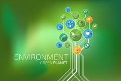infographic的生态 环境,绿色行星 免版税库存图片