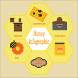 infographic的蜂蜜和的蜂 库存照片