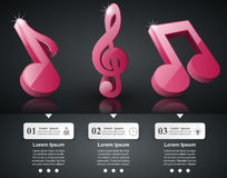 infographic的音乐 高音谱号象 注意图标 免版税库存图片
