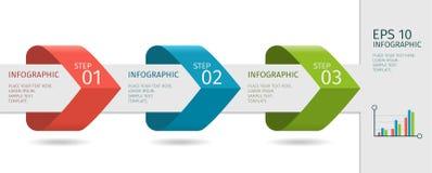 Infographic箭头与提高选择 在平的设计样式的传染媒介模板 免版税库存照片