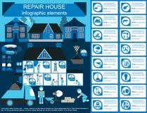 infographic议院的修理,设置了元素 库存照片