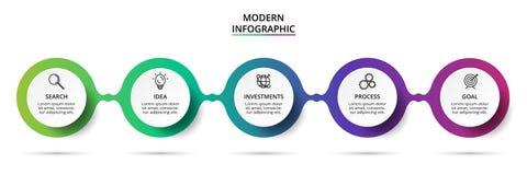 Infographic设计图、图表、介绍和圆的图的传染媒介和营销象 与5个选择的概念 向量例证