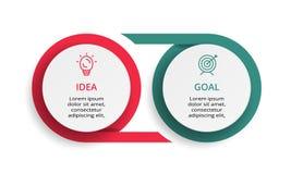 Infographic设计图、图表、介绍和圆的图的传染媒介和营销象 与2个选择的概念 库存例证