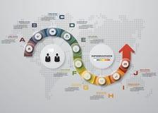 Infographic设计模板和企业概念与10个选择、部分、步或者过程 库存图片