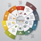 Infographic设计模板和企业概念与10个选择、部分、步或者过程 免版税库存图片
