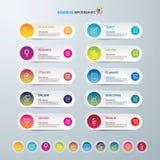 Infographic设计模板和营销象,与10个选择的企业概念 免版税库存图片