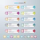 Infographic设计模板和营销象,与10个选择的企业概念 图库摄影