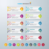 Infographic设计模板和营销象,与10个选择的企业概念 库存图片