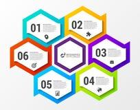 Infographic设计模板 与6步的企业概念 免版税库存照片