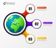 Infographic设计模板 与3步的企业概念 免版税库存图片