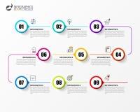 Infographic设计模板 与9步的时间安排概念 皇族释放例证