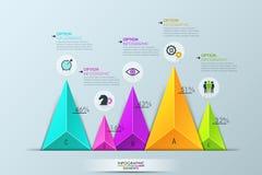 Infographic设计版面,与5个不同多彩多姿的三角元素的长条图 库存例证