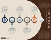 Infographic设计题材红色、介绍和图的,抽象背景传染媒介元素 免版税库存图片