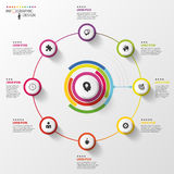 Infographic äganderätt för home tangent för affärsidé som guld- ner skyen till Färgrik cirkel med symboler vektor Arkivbild