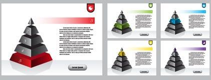 Infographic, éléments d'affaires Employez le site Web, brochure d'entreprise, vente Diagrammes symétriques de pyramide d'Isometry Illustration de Vecteur