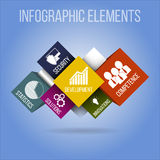 infographic έννοια Διανυσματικά infographic στοιχεία και εικονίδια στο μπλε υπόβαθρο Στοκ εικόνες με δικαίωμα ελεύθερης χρήσης